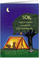 Summer Camp - Son - Humorous - Miss you - Flashlights in Tent card