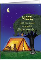 Summer Camp - Niece - Humorous - Miss you - Flashlights in Tent card