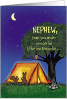 Summer Camp - Nephew - Humorous - Flashlights in Tent card