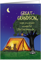 Summer Camp - Great Grandson - Humorous - Flashlights in Tent card