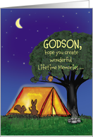 Summer Camp - Godson - Humorous - Flashlights in Tent card