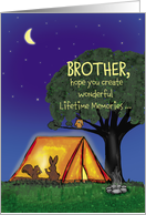 Summer Camp - Brother - Humorous - Flashlights in Tent card