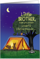 Summer Camp - little Brother - Humorous - Flashlights in Tent card