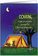 Summer Camp - Cousin - Humorous - Flashlights in Tent card