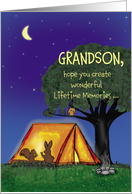 Summer Camp - Grandson - Humorous - Flashlights in Tent card