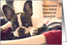 French Bulldog Humor, Happiness is a warm basket of laundry card
