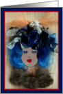 Blue Haired Woman with Fancy Hat, Illustration Print, Blank Inside card