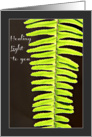 Healing Light to You, Fern Frond Bathed in Light, Blank Inside card
