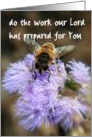 Do the Work Our Lord Has Prepared for You, Bee Photo on Flower, Blank Inside card