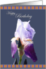 Decorative Iris BG Flower Happy Birthday card