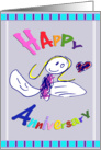 Happy Anniversary Angel Drawing Card