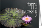 Pink Waterlily Happy Anniversary Card
