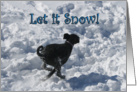 Let it Snow Black Labradoodle Alt Happy Holidays Card