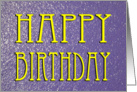 Basic Purple watery Happy Birthday Card