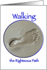 Walking the Righteous Path, footprint in sand card