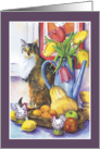 Still Life with Cat & Tulips card