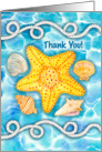 Nautical Rope, Sea Shells and Starfish Thank You card