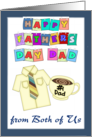 Happy Father's Day Dad - from both of Us - yellow shirt, coffee mug card