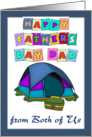 Happy Father's Day Dad from both of Us - tent- tackle box, blue border card