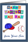 Happy Father's Day Dad from Son - baseball, blue border card