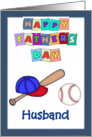Happy Father's Day Husband - Baseball bat, cap, baseball, blue border card