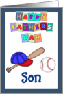 Happy Father's Day Son - Baseball bat, cap, baseball, blue border card