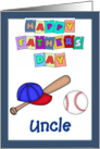 Happy Father's Day Uncle - Baseball bat, cap, baseball, blue border card