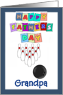 Happy Father's Day Grandpa - bowling, blue border card