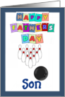 Happy Father's Day Son - bowling, blue border card