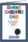 Happy Father's Day Uncle - bowling, blue border card