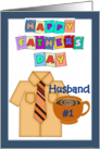 Happy Father's Day Husband - shirt, tie, coffee cup, blue border card
