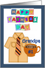 Happy Father's Day Grandpa - shirt, tie, coffee cup, blue border card