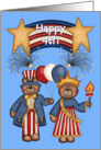 Happy 4th -Patriotic Banner,Bears, Balloons, Fireworks, Red White Blue card