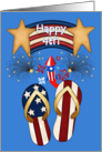 Happy 4th -Patriotic Banner, Flip Flops, Fireworks, Red White Blue card