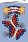 Happy 4th -Patriotic Banner, Butterflies, Fireworks, Red White Blue card