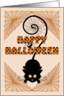 Happy Halloween - black cat, spider, spider webs card