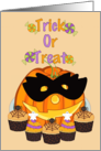 Trick or Treat - Halloween - Pumpkin with mask and cupcake treats card