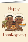Happy Thanksgiving (General) - Pilgrims, Cornucopia, Turkey card