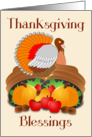 Thanksgiving Blessings (General) - Pilgrims, Cornucopia, Turkey card