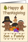 Happy Thanksgiving Son & Family - Pilgrims, Cornucopia, Turkey card