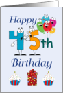 Happy 45th Birthday - Balloons, Cupcakes, gift, blue background card
