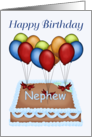 Happy Birthday Nephew - Balloons, Cake, blue background card