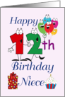Happy 12th Birthday Niece - Balloons, cupcake, gift, pink background card