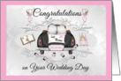 Wedding Day Lesbian Couple- Congratulations - Car with 2 brides card
