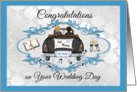 Wedding Day Gay Couple- Congratulations - Car with 2 Grooms card