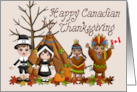 Happy Canadian Thanksgiving (Pilgrims, Indians, Teepee) card