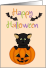 Happy Halloween (Black Cat in Pumpkin) card
