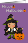 Happy Halloween (Witch , Black Cat, Pumpkin) card