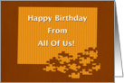 Happy Birthday From All Of Us Puzzle Pieces card