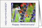Employee Anniversary Butterfly and Flowers card